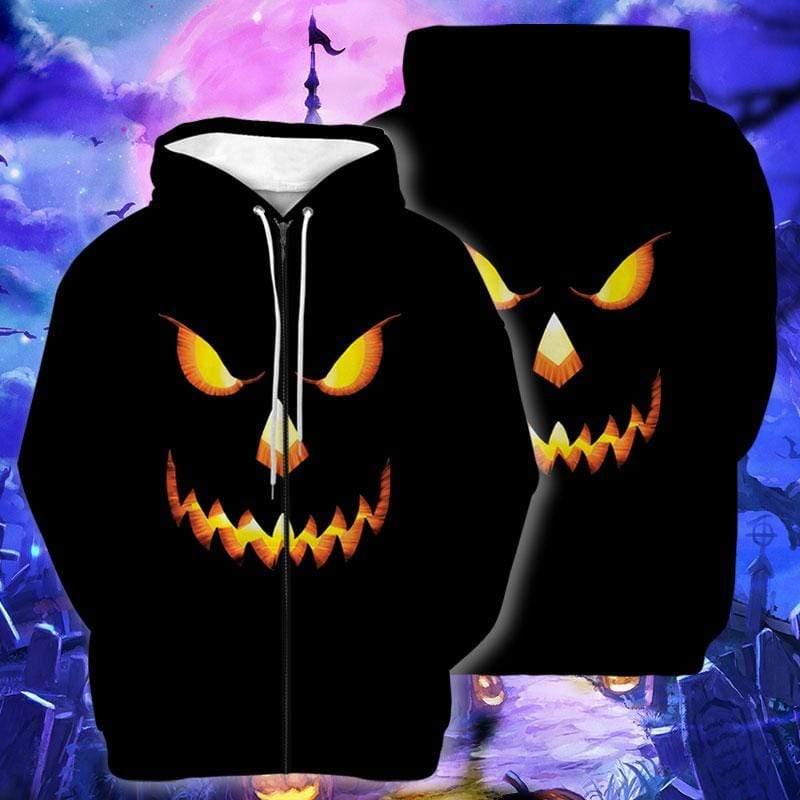 Scary Pumpkin Face Halloween Black Hoodie 3D
