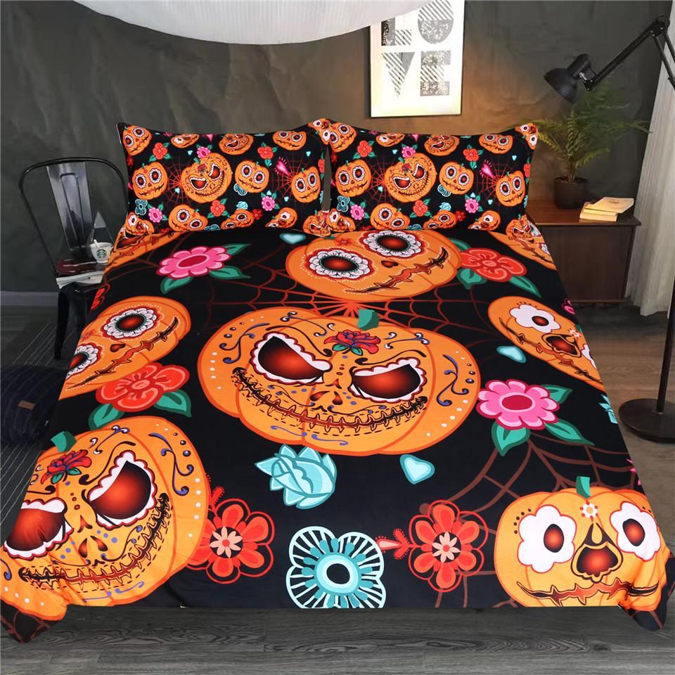 Halloween horror Pumpkins and spider Duvet Bedding Set