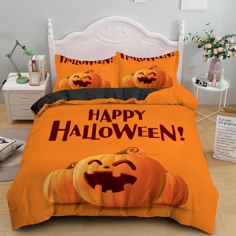 Happy Halloween smiley pumpkin Bedding set