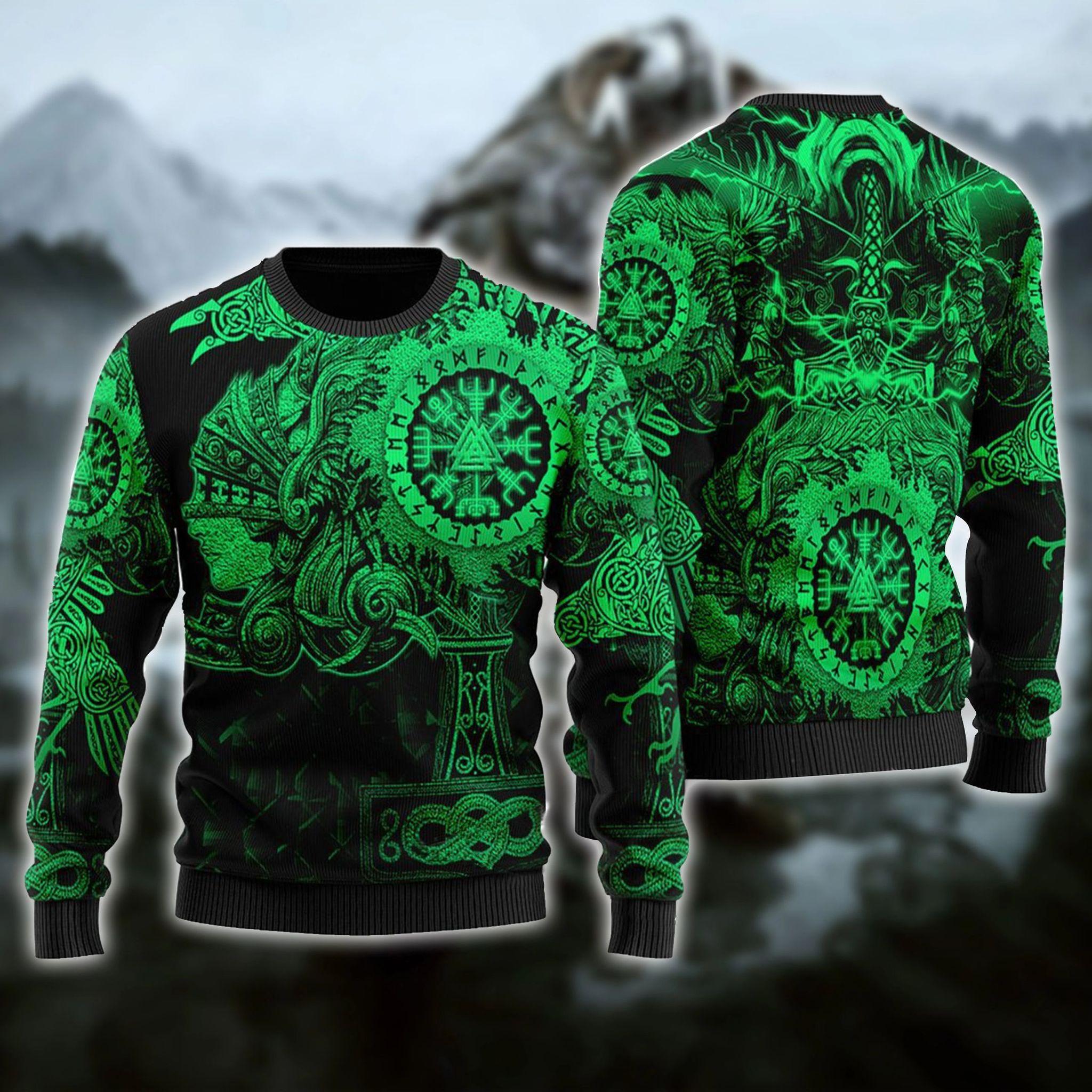 Viking Native Ugly Christmas Green Pattern Sweater