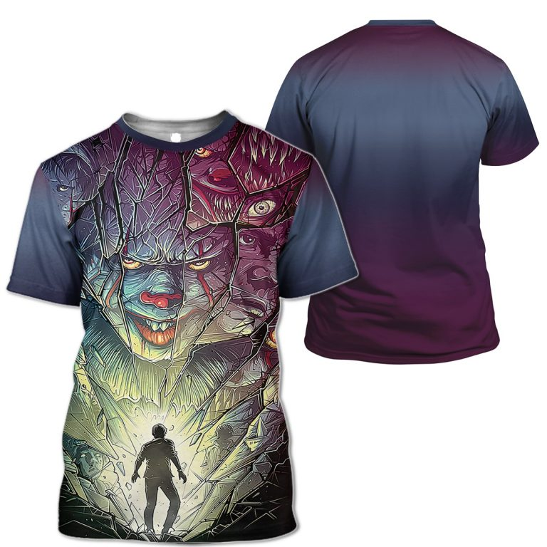 Pennywise Cracked Mirror chase Human 3D T SHIRT