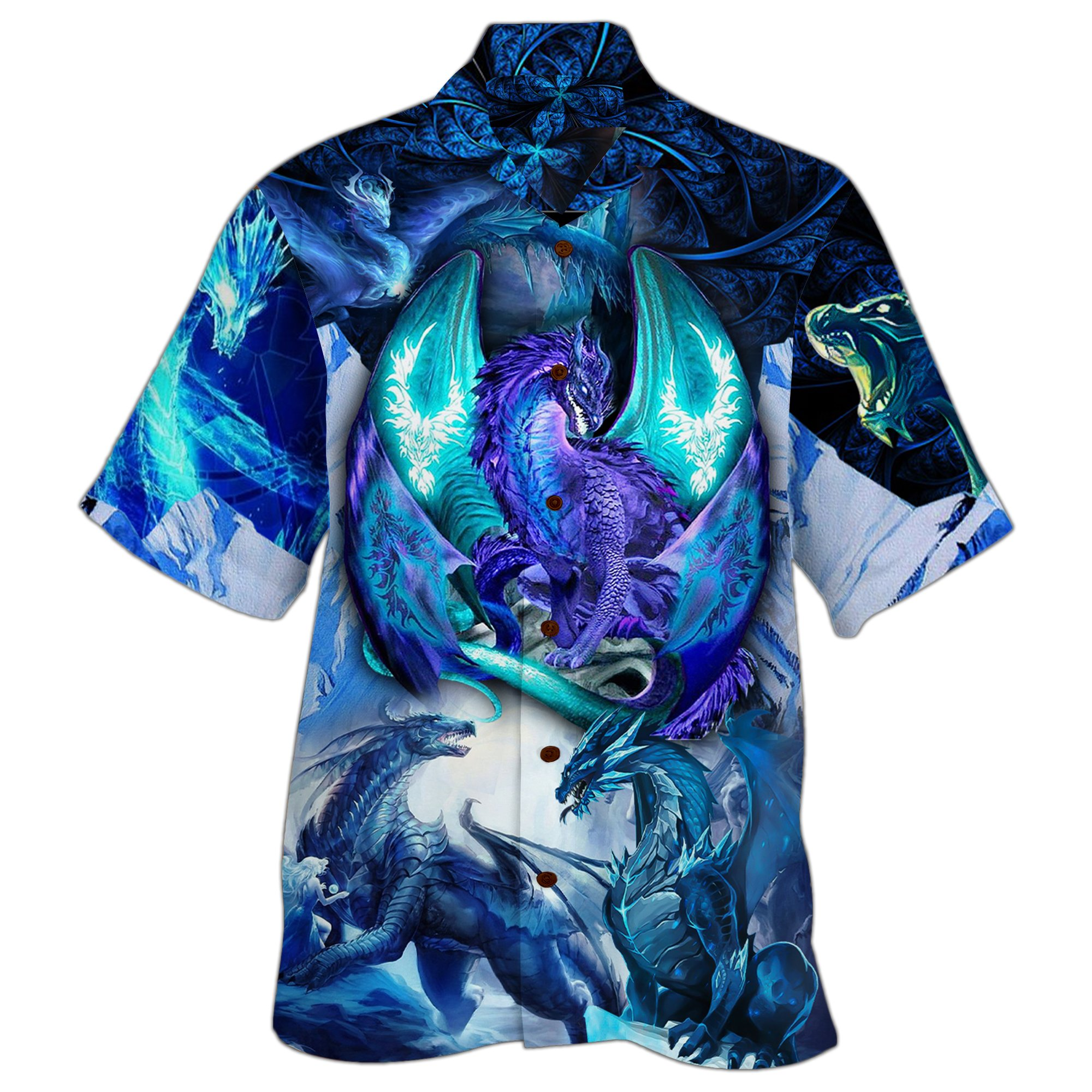 Blue Legend Dragon Printed Hawaiian Shirt