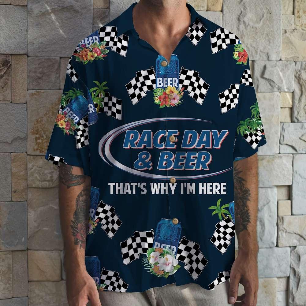 Dirt Track Racing Race day bud light Beer Blue Hawaiian Shirt