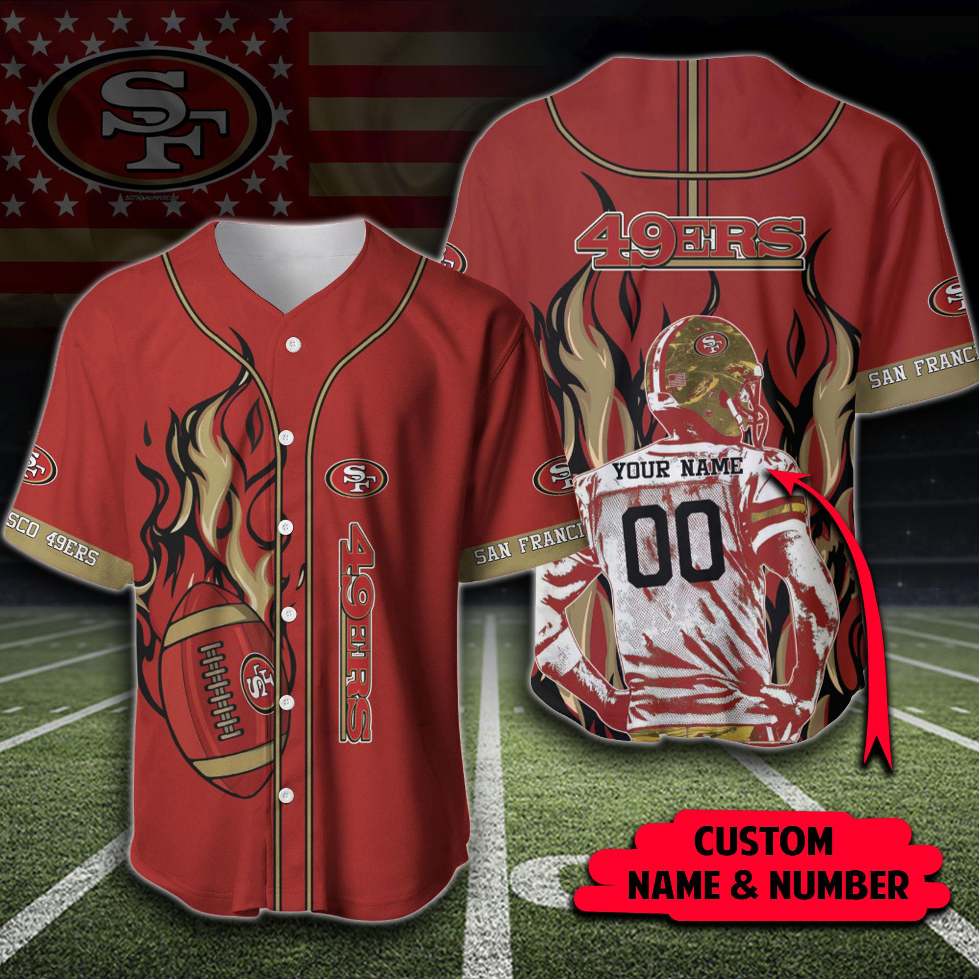 NFL San Francisco 49ers Custom Name And Number fireball baseball Jerseys shirt