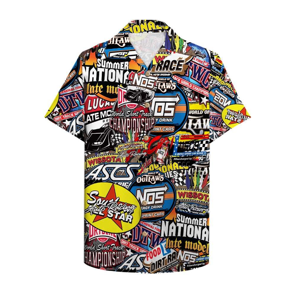 Dirt Track Racing all logo Hawaiian Shirt Summer Shirt