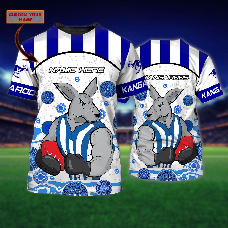 AFL North Melbourne Kangaroos Custom Name 3D T-Shirt