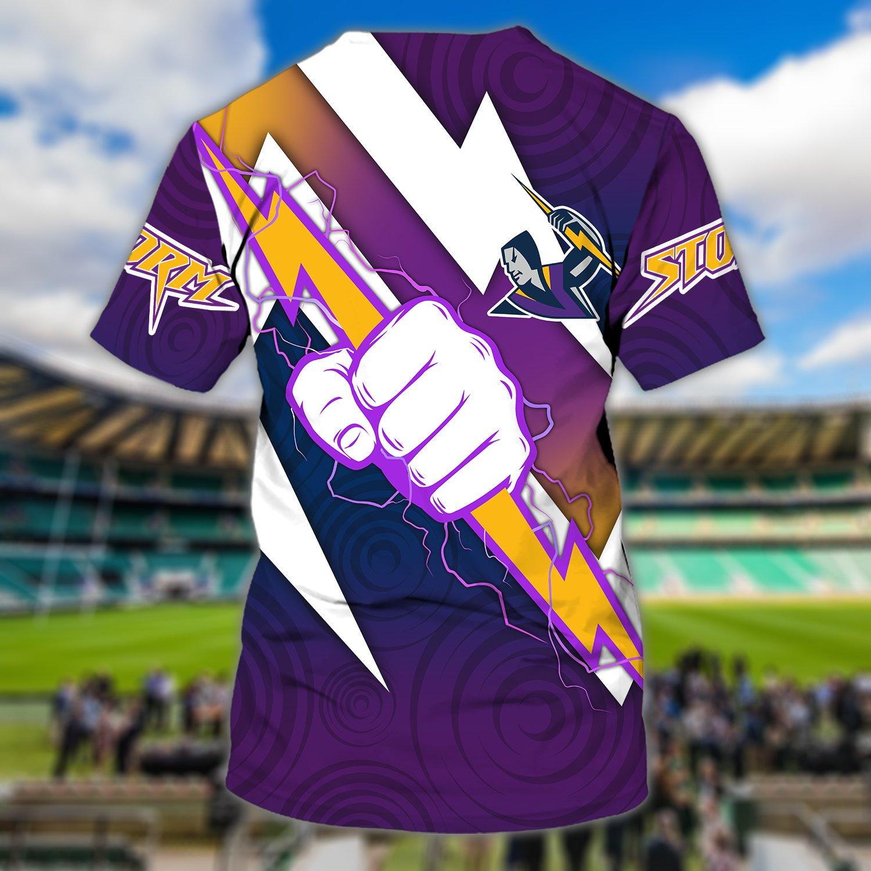 Personalized Name NRL Melbourne Storm Lightning Full Printed T-shirt
