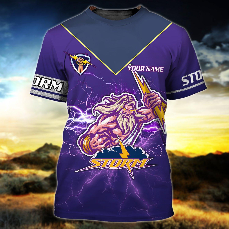 Custom Name Melbourne Storm Zeus 3D AOP T-shirt