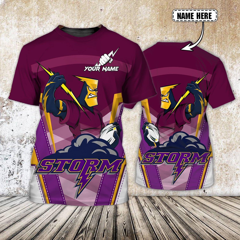 Custom Name Melbourne Storm Zeus Australian Football 3D T-shirt