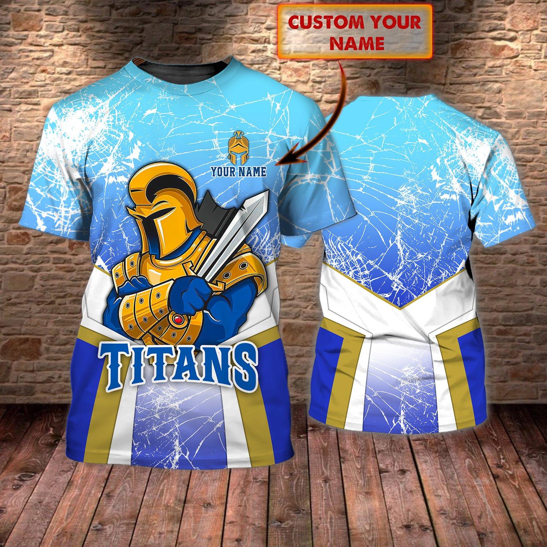 Custom Name Gold Coast Titans NRL 3D T-shirt