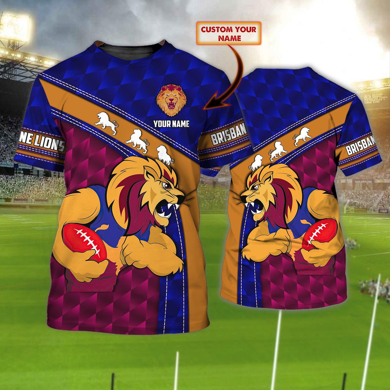 Brisbane Lions AFL Personalized Name 3D Tshirt