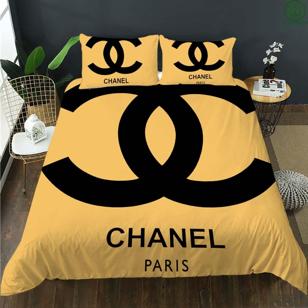 Chanel Paris big logo yellow version bedding set