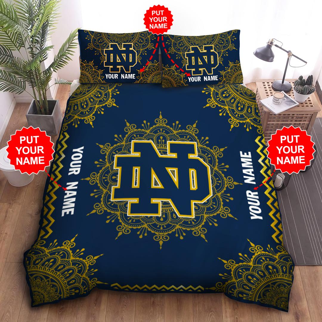 Custom Name NOTRE DAME FIGHTING IRISH Bedding Set