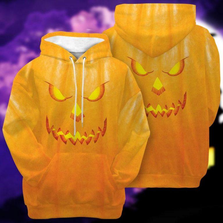 Orange Pumpkin Face Halloween Thanksgiving Hoodie 3D