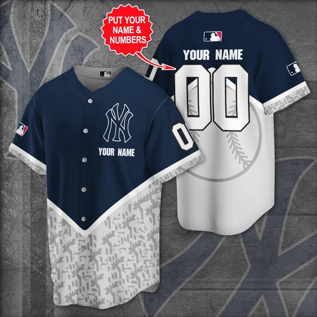 Personalized New York Yankees navy grey Baseball Jersey