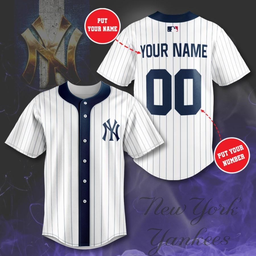 Personalized New York Yankees navy stripe line Baseball Jersey