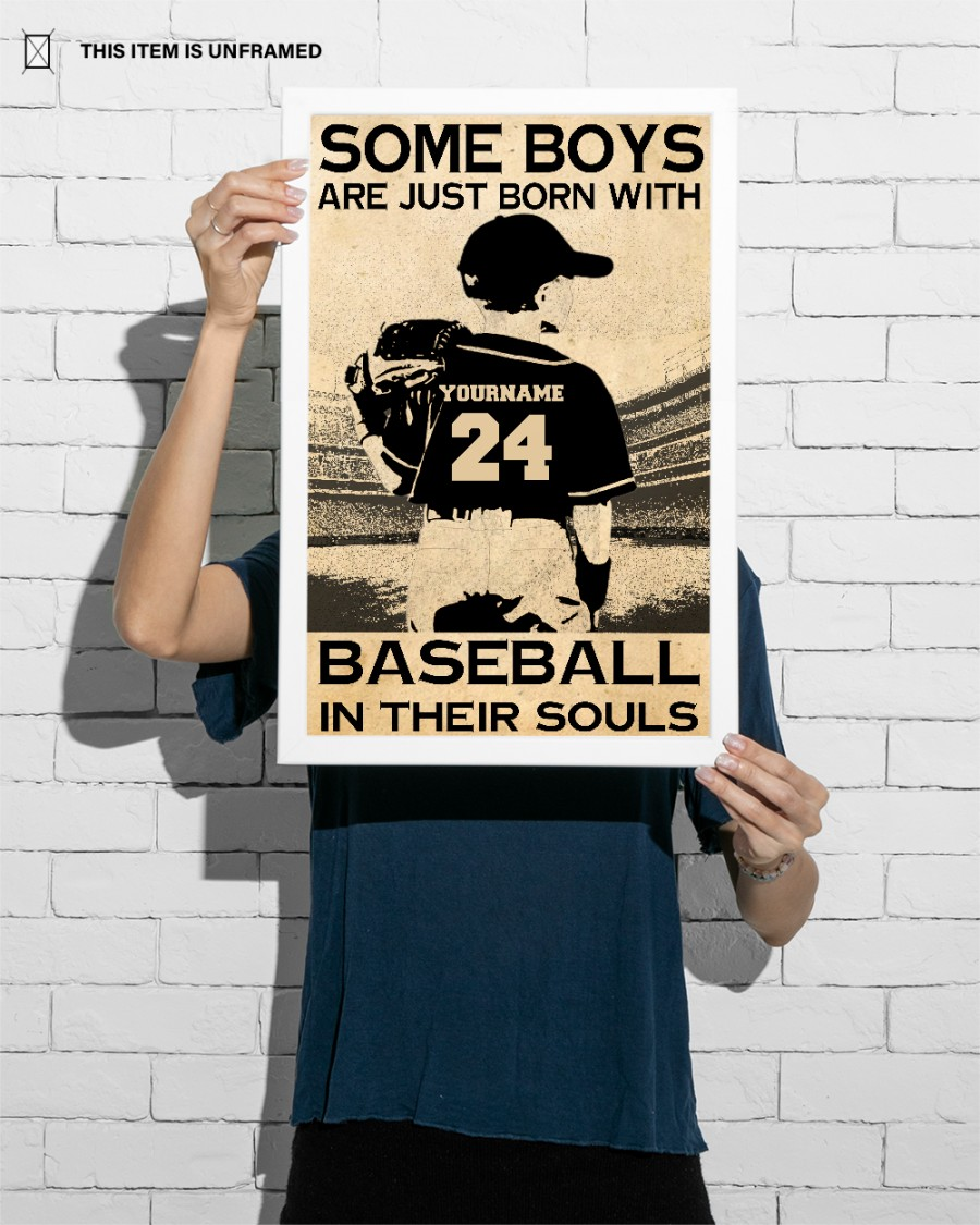 Personalized Some boys are just born with baseball in their souls Vertical Poster