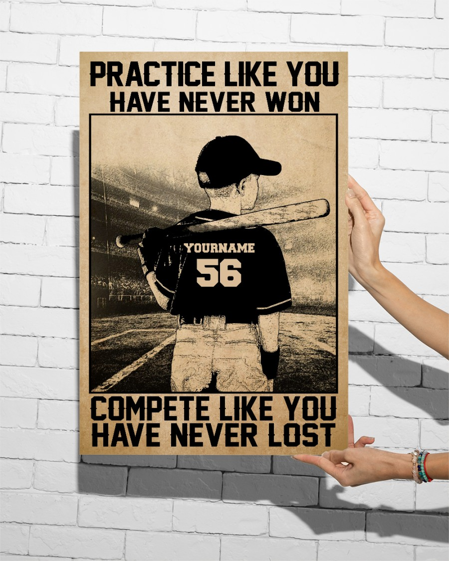 Practice Like You Have Never Won Custom Name Number Vertical Poster
