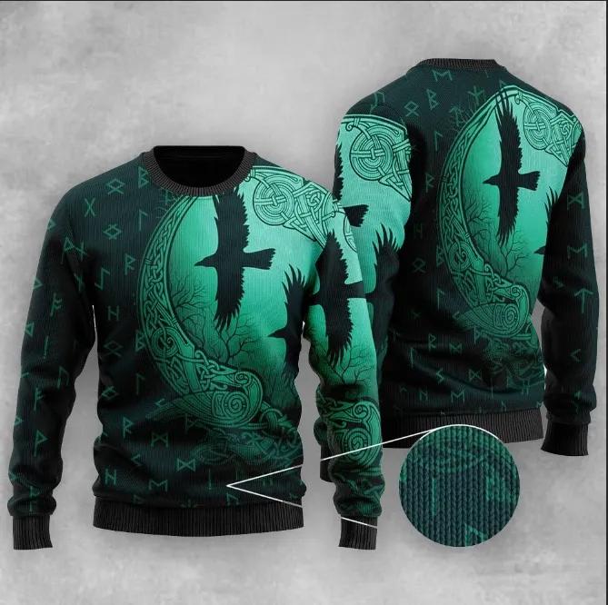Viking Eagle Fly Ugly Christmas Dark Green Sweater