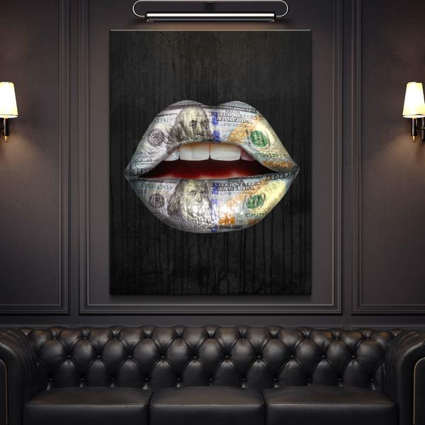 Expensive taste lips canvas print