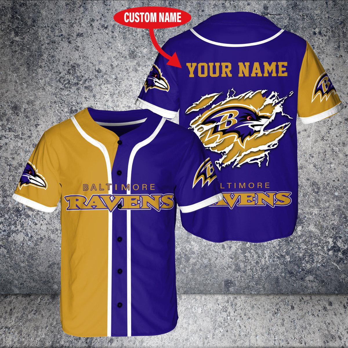 Custom Name NFL Baltimore Ravens Baseball Jersey Shirt