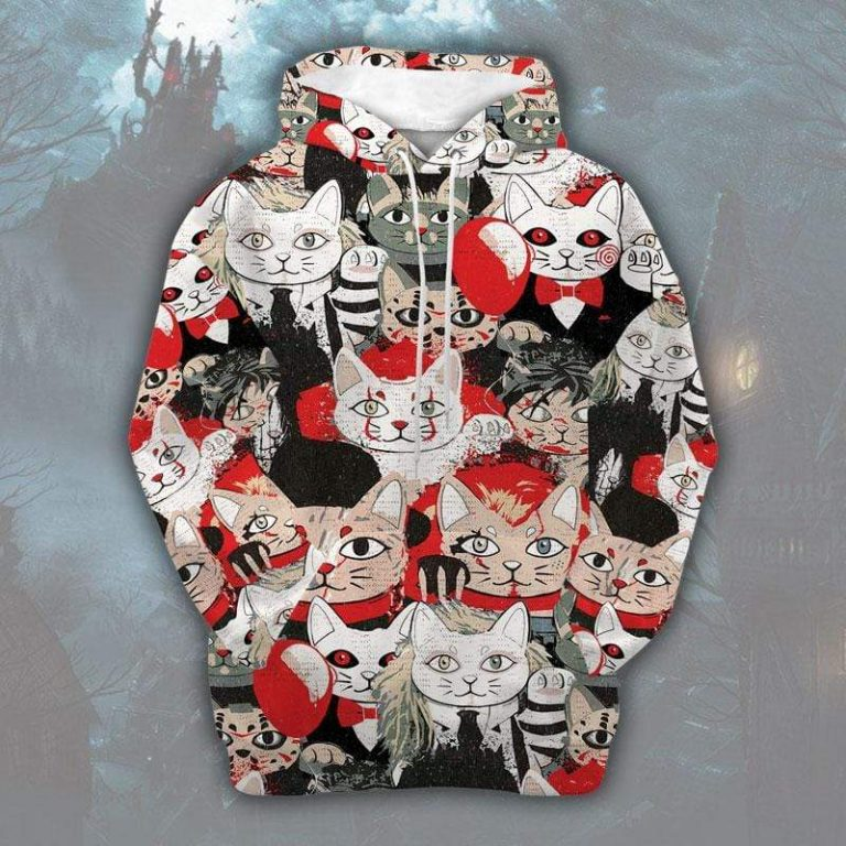Halloween Scary Movie Character Cat Hoodie 3D