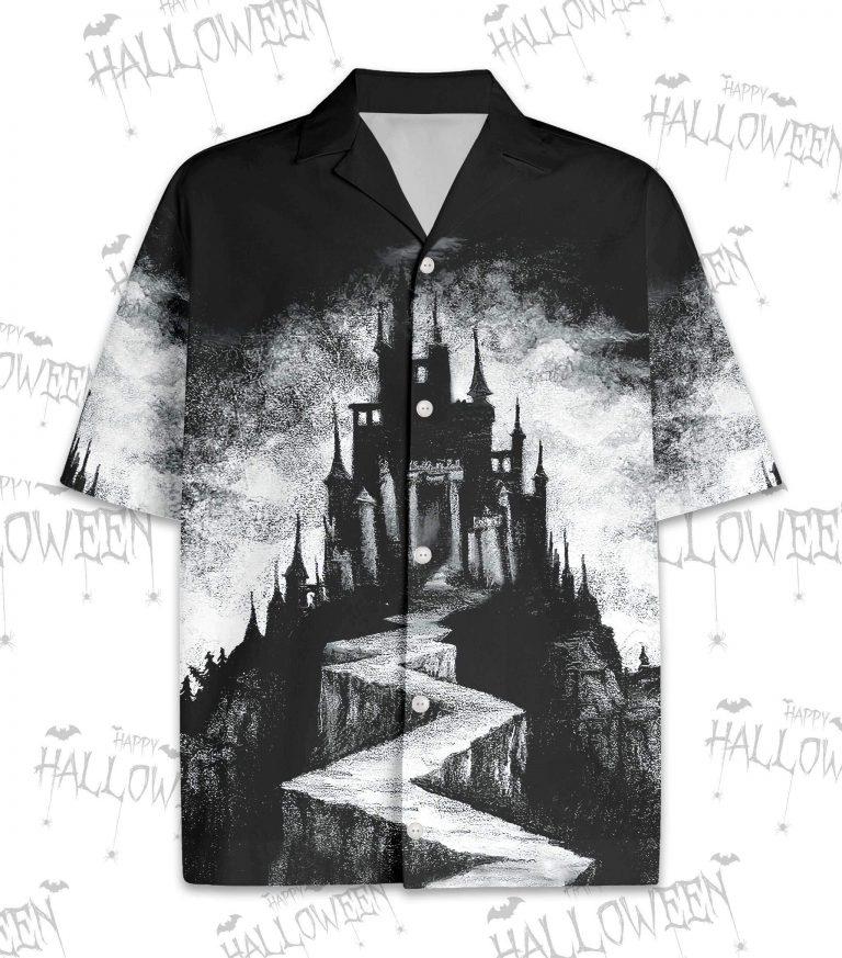 Black and White Halloween Scary Palace Art Hawaiian Shirts