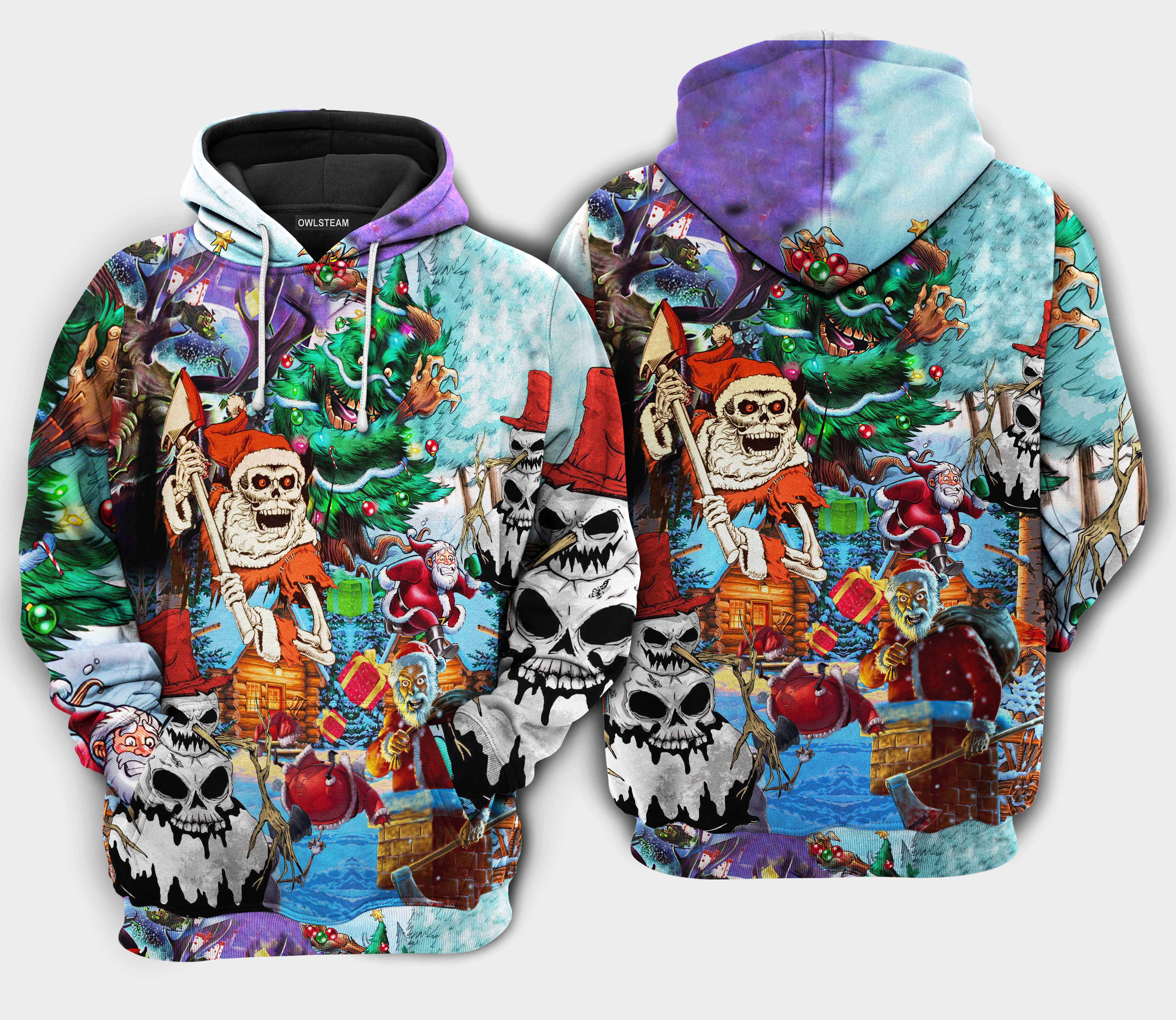 Christmas And Skull Scary Hoodie 3D