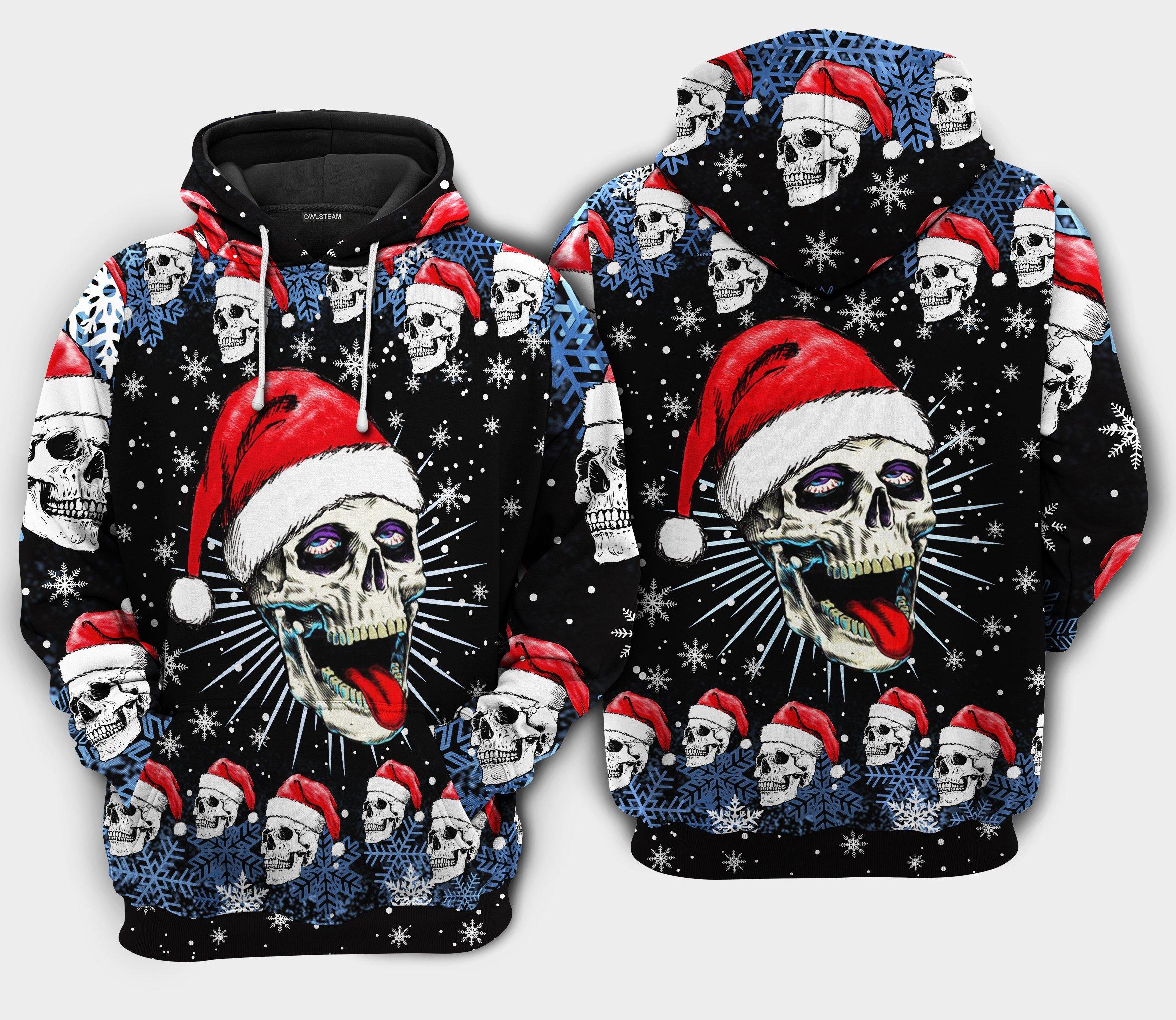 Christmas Skull On The Naughty Hoodie 3D