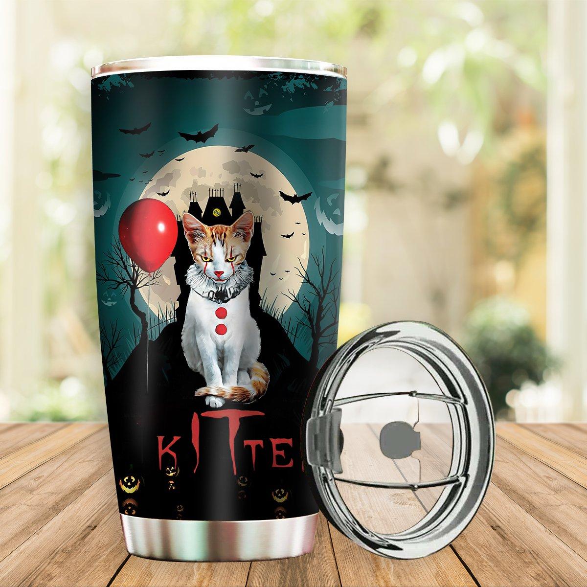 Personalized Halloween kitten hello cat Tumbler Cup