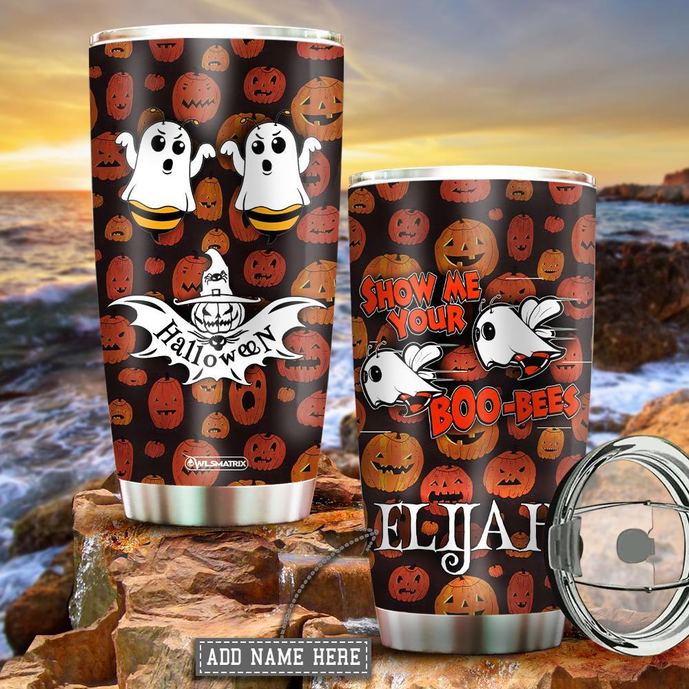 Personalized Halloween show me your boo bees Tumbler Cup