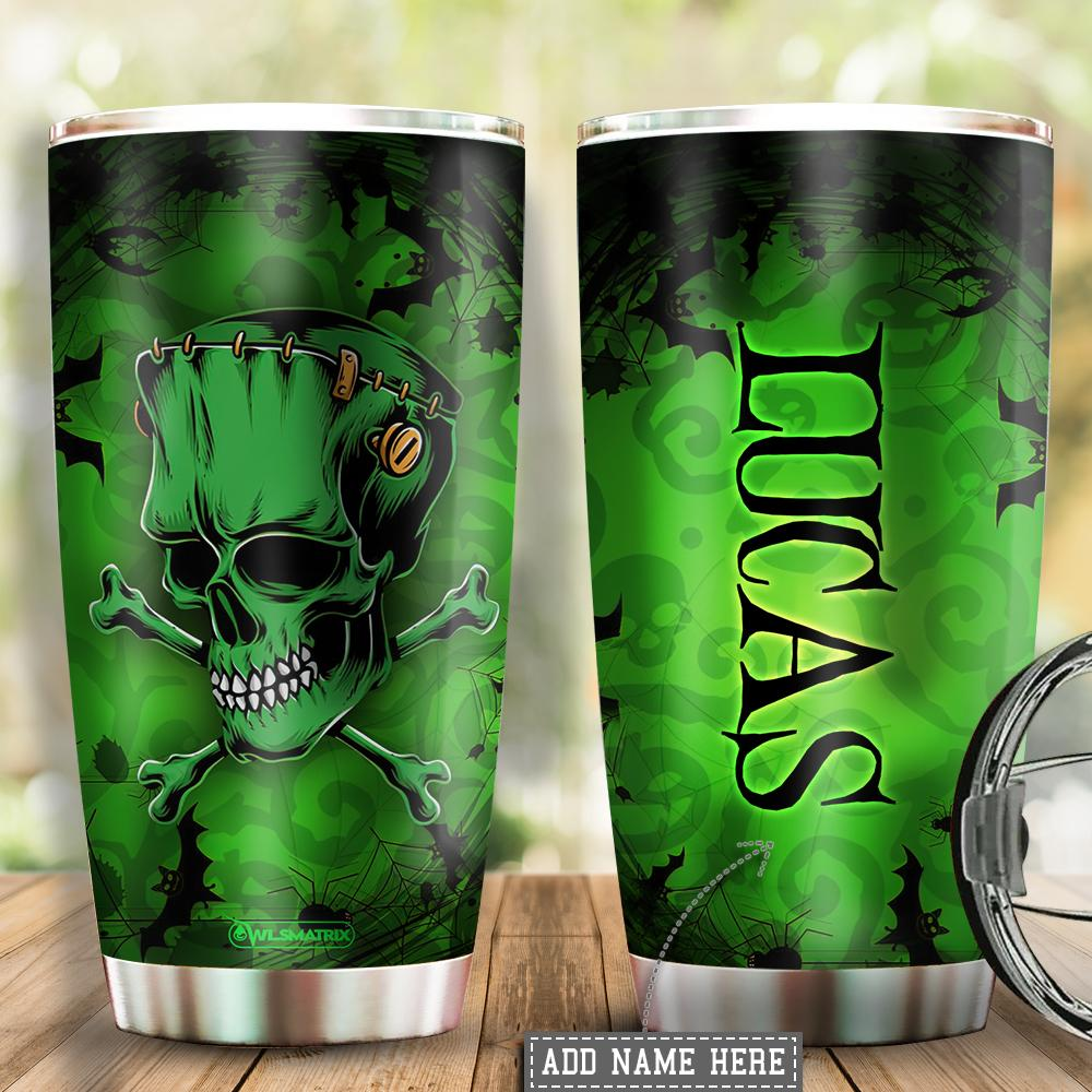 Personalized Halloween skull green Tumbler Cup