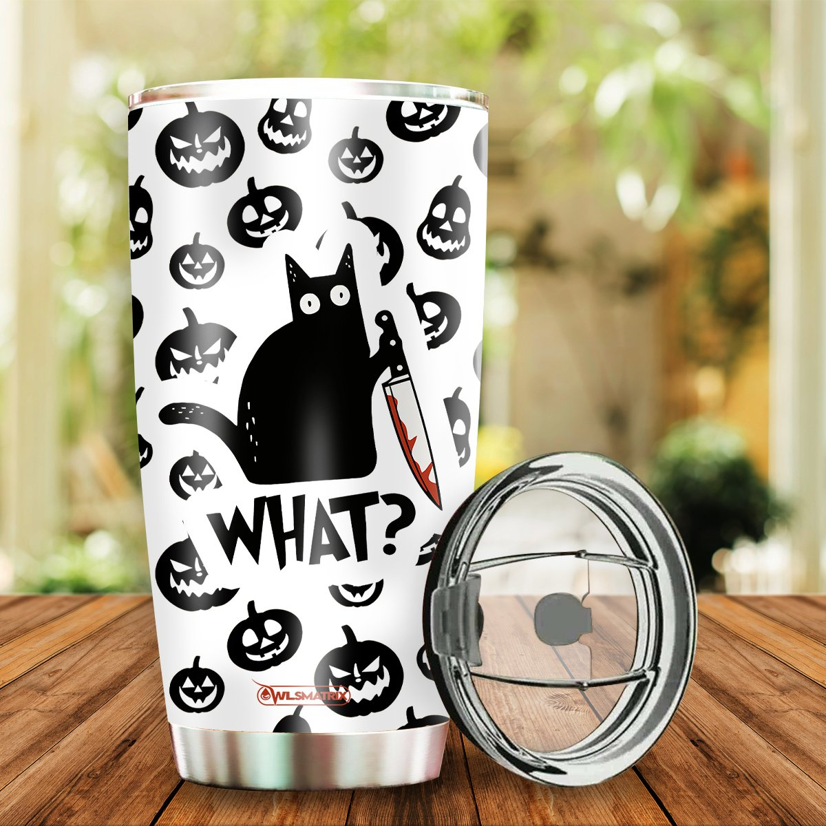Personalized Halloween cat what Tumbler Cup