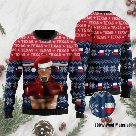Texas Boxing Longhorn Ugly Christmas Sweater