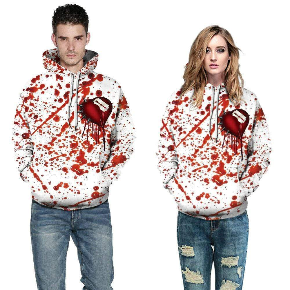 Halloween Blood and razor in heart white red couple hoodie 3D