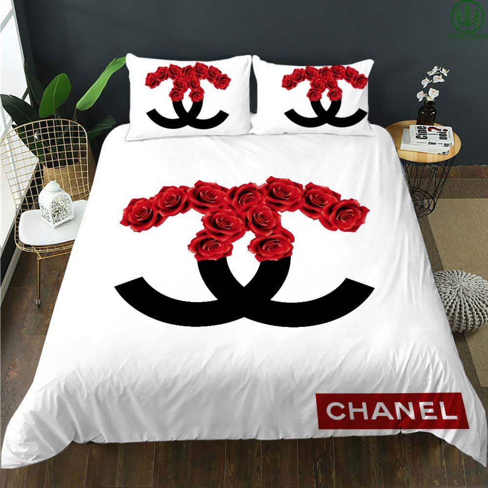 Chanel rose white bedding set