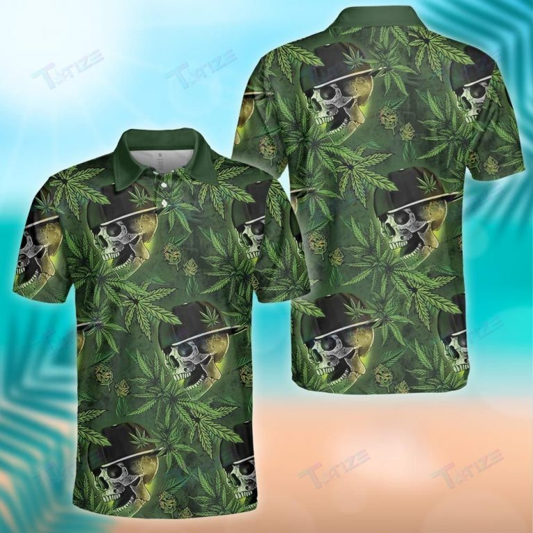 WEED LEAF AND SKULL GREEN PATTERN POLO SHIRT