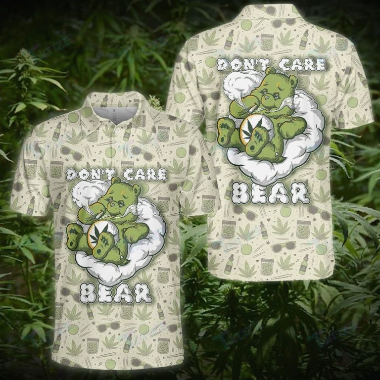 WEED LEAF DONT CARE BEAR PATTERN POLO SHIRT