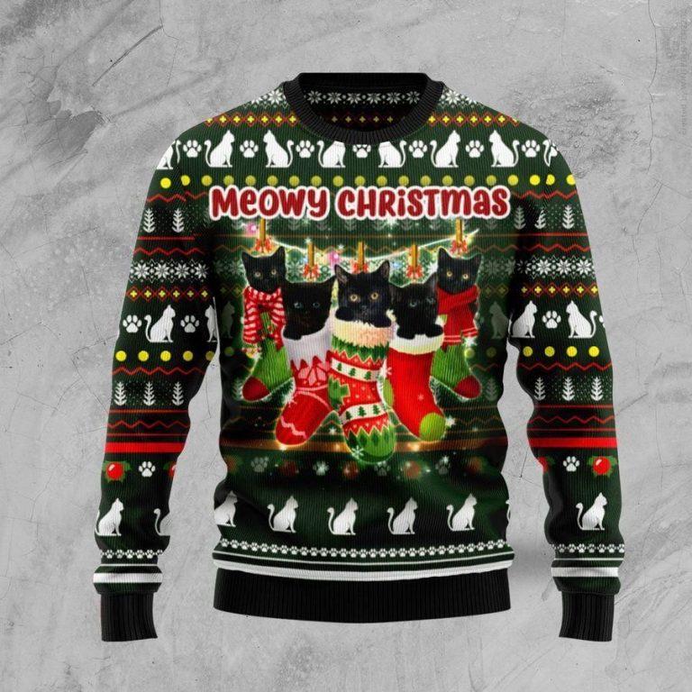 Black Cat Socks Ugly Christmas Sweater