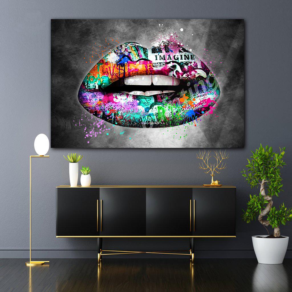 Graffiti Lips Color Canvas