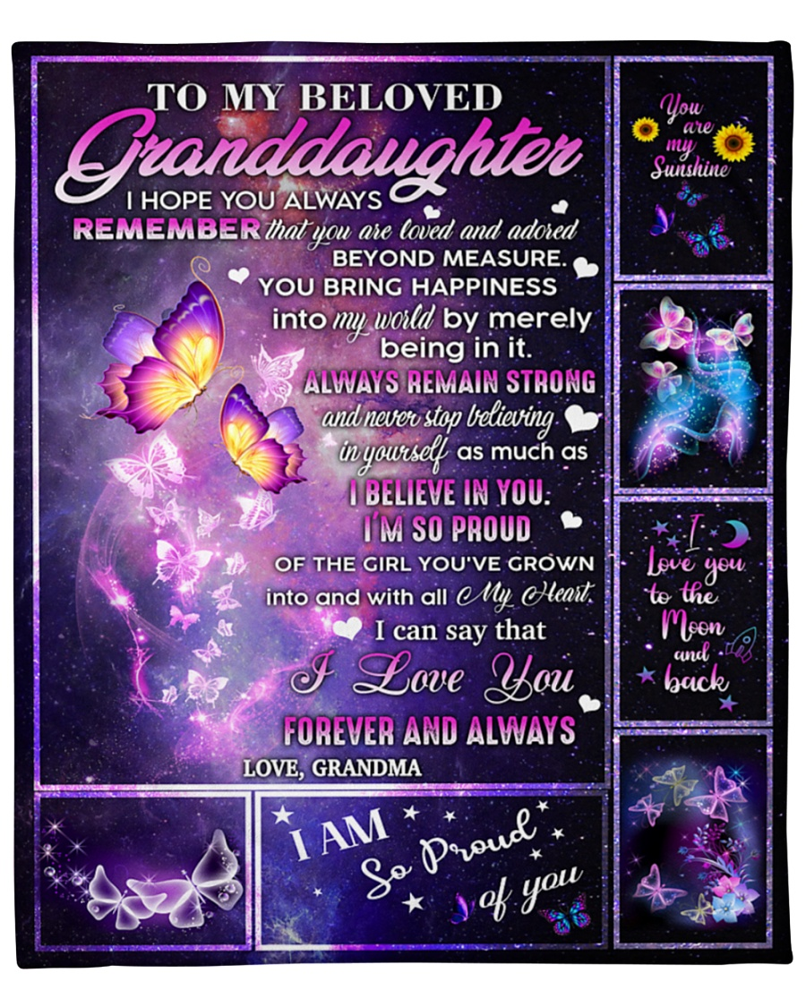 Beloved Granddaughter Proud of you Night Colorful Butterfly Fleece Blanket