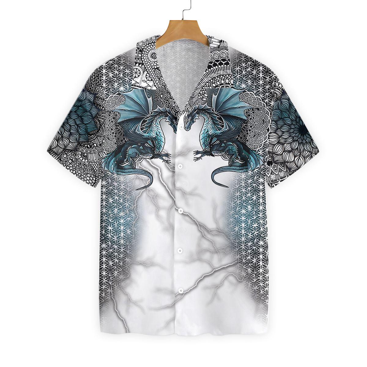 Two Blue Dragon Tattoo Pattern Hawaiian Shirt