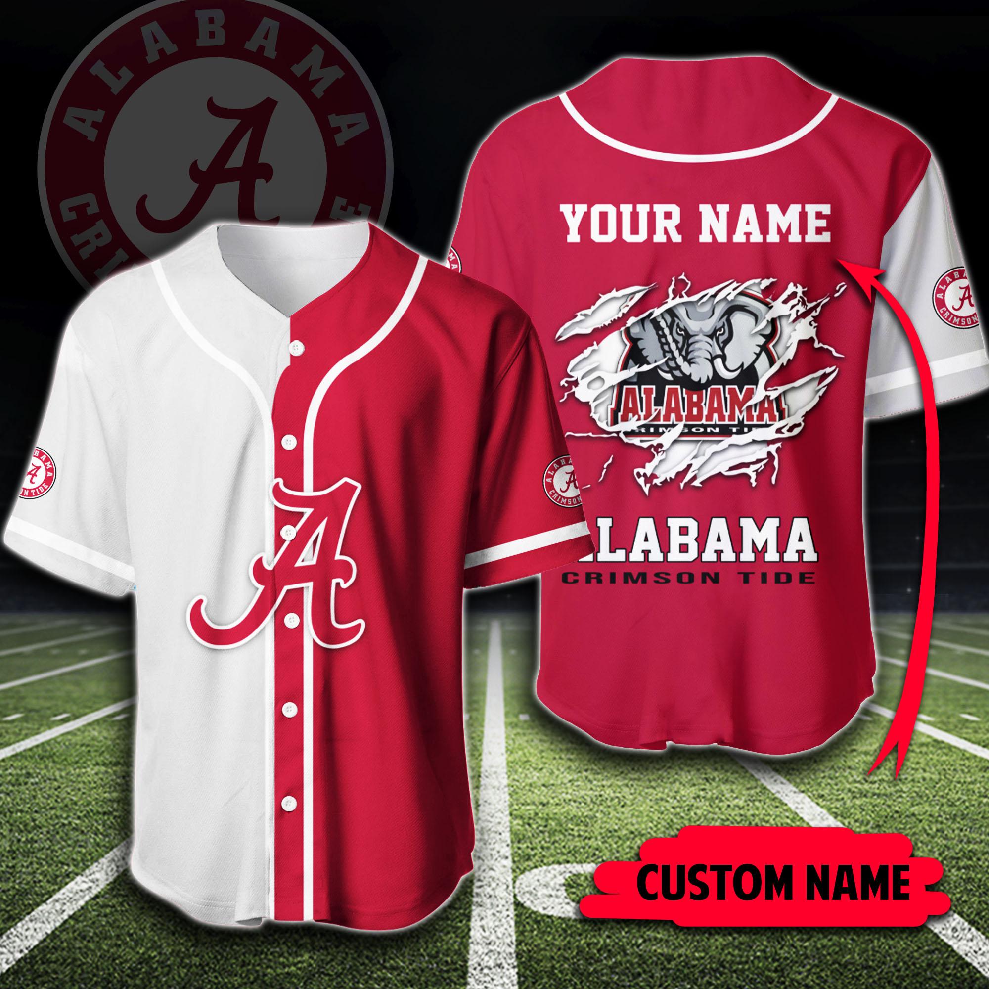 Custom Name NCAA Alabama Crimson Tide Baseball Jersey Shirt