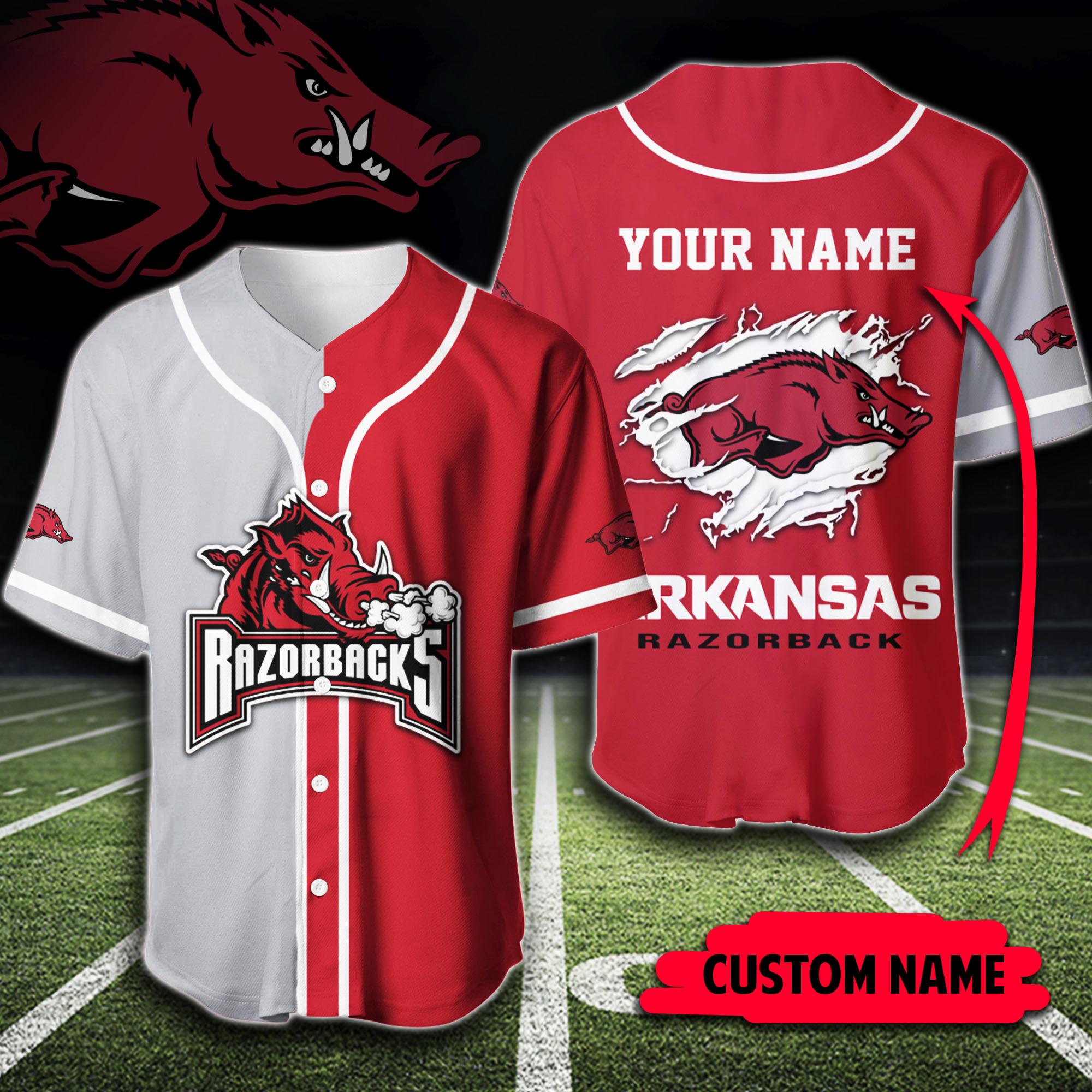 Custom Name Arkansas Razorbacks Baseball Jersey Shirt