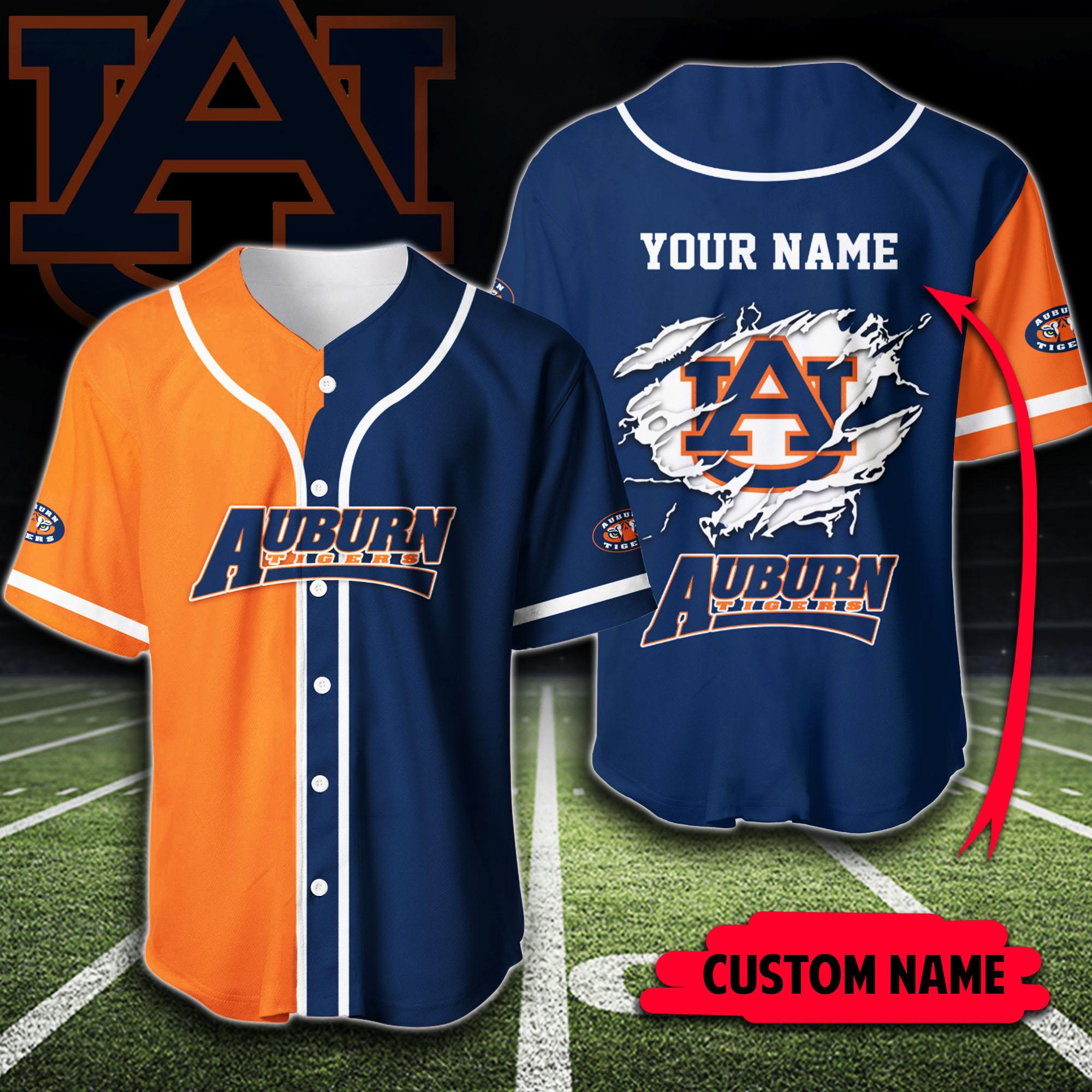 Custom Name Auburn Tigers Baseball Jersey Shirt