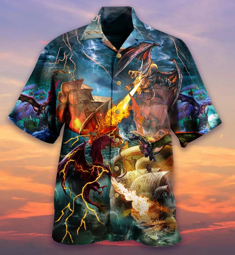 Dragon Fire Ship Boat Hawaiian Shirt
