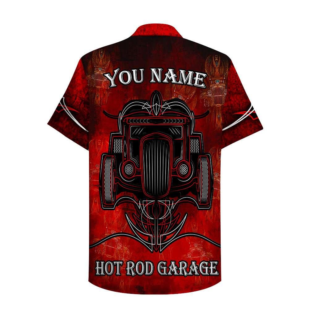Custom Name Hot Rod Garage Hawaiian Shirt
