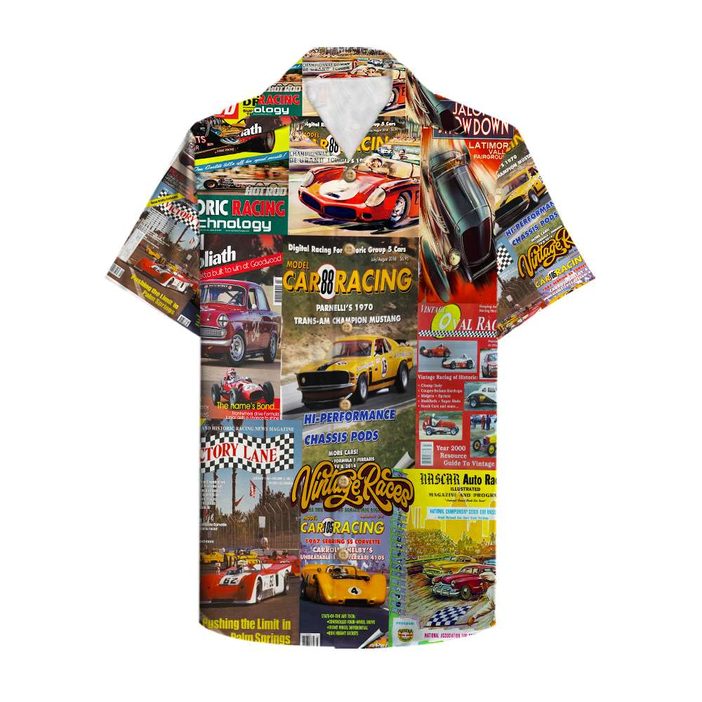 Sport Car Racing Magazine Vintage races Hawaiian Shirt