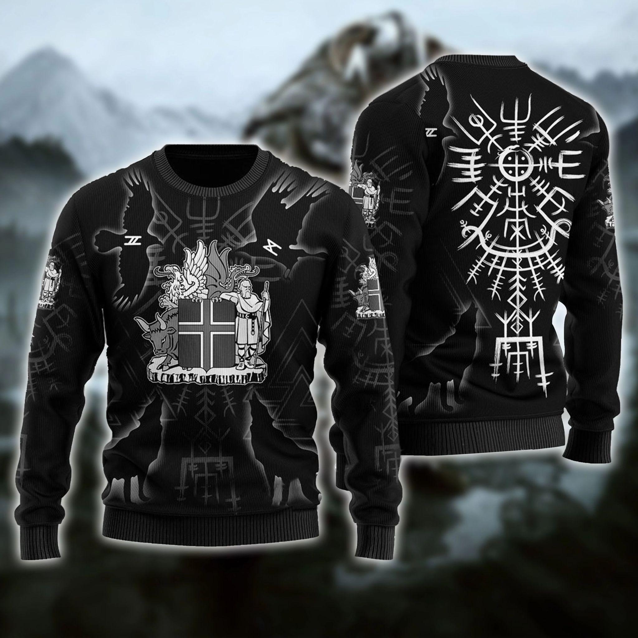 Viking Symbols Ugly Christmas Black Sweater