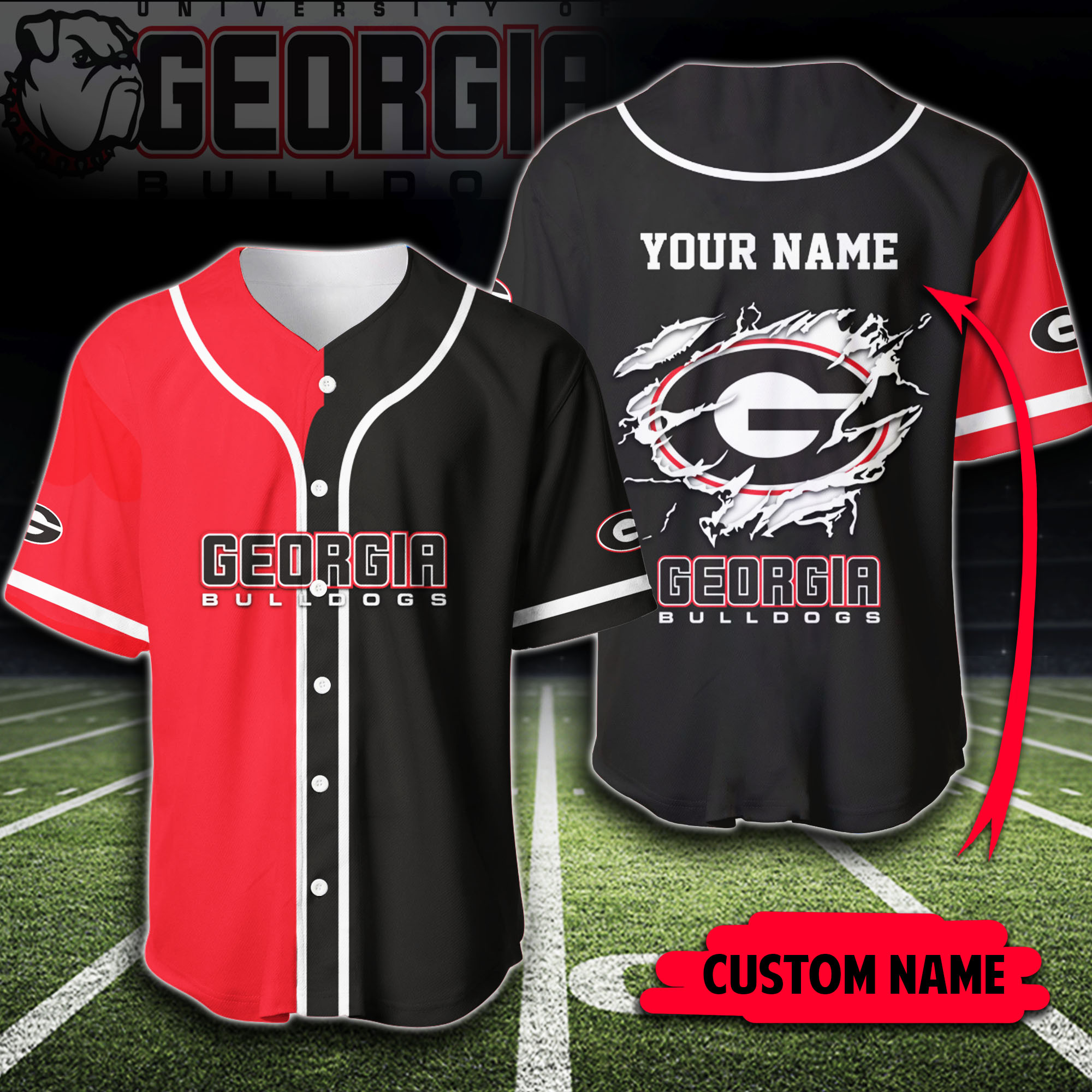 Custom Name Georgia Bulldogs Baseball Jersey Shirt